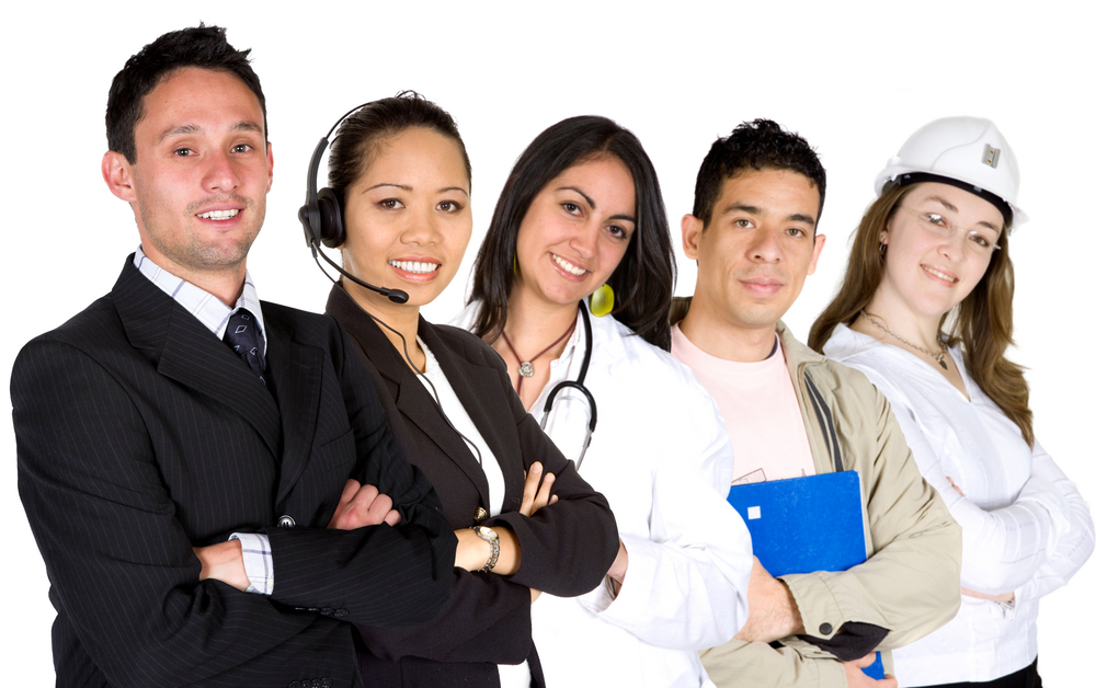business professionals in different career paths over a white background-1